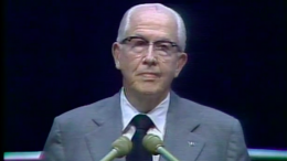 Elder Ezra Taft Benson gives a Devotional Address at Brigham Young University in April 1977.