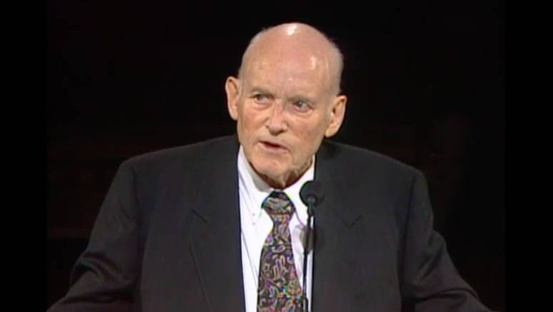 President Howard W. Hunter speaking in Conference, October 1994