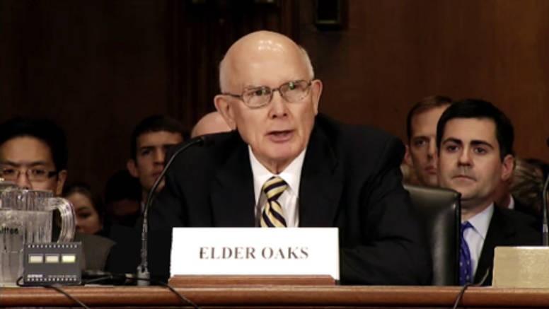 Elder Dallin H. Oaks testifies before the U.S. Senate Finance Committee, Oct 2011