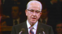 Elder Ezra Taft Benson speaks in General Conference, April 1973