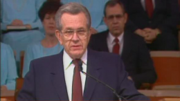 Boyd K. Packer speaks in General Conference, April 1990