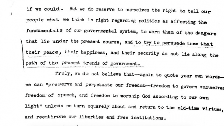 Excerpt from letter.