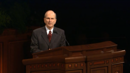 Elder Russell M. Nelson speaks in General Conference, October 2002
