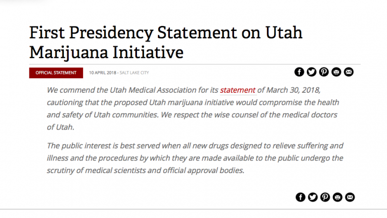 First Presidency Statement on Utah Marijuana Initiative